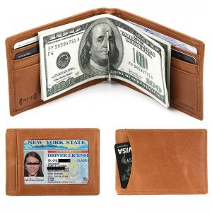 Custom RFID Blocking Front Pocket Genuine Leather Slim Wallet with Money Clip