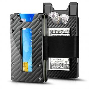Mens Wallet 2019 Credit Card Holder RFID blocking Coin purse alloy aluminum Carbon Fiber Mens Wallet