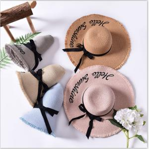 Hot Selling Sun Hats For Women Black Ribbon Lace Up Large Brim Straw Hat Outdoor Beach Summer Caps
