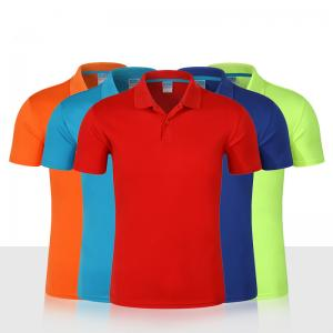 Custom 100% Polyester T Shirts Short Sleeve Dry Fit Polo T Shirt